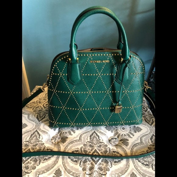 4bb91e8a2fb0 Michael Kors Adele Large Dome Emerald Crossbody. M 5c854eb75c4452c0e8bcfe4b